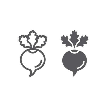 Beetroot line and glyph icon, beet and vegetable, vitamin sign, vector graphics, a linear pattern on a white backgrond, eps 10.