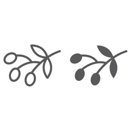 Olives line and glyph icon, food and vegetable, olive branch sign, vector graphics, a linear pattern on a white backgrond, eps 10.