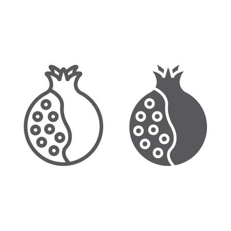 Pomegranate line and glyph icon, food and fruit, vitamin sign, vector graphics, a linear pattern on a white backgrond, eps 10.