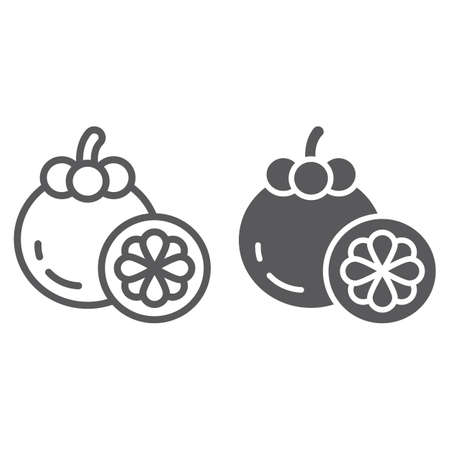 Mangosteen line and glyph icon, food and vitamin, exotic fruit sign, vector graphics, a linear pattern on a white backgrond, eps 10.