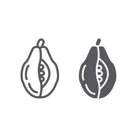 Papaya line and glyph icon, food and vitamin, exotic fruit sign, vector graphics, a linear pattern on a white backgrond, eps 10. Çizim
