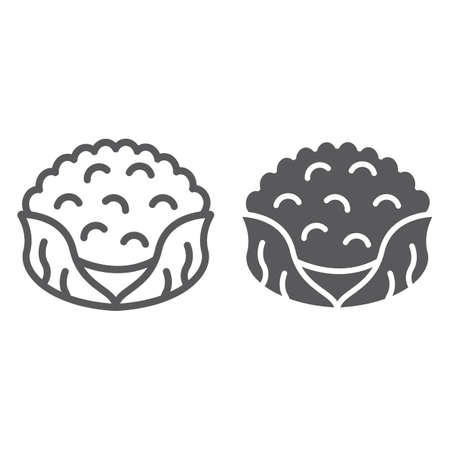 Cauliflower line and glyph icon, food and organic, vegetable sign, vector graphics, a linear pattern on a white backgrond, eps 10.