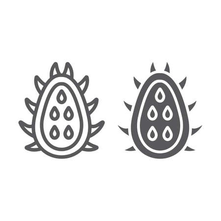 Pitaya line and glyph icon, food and exotic, tropical fruit sign, vector graphics, a linear pattern on a white backgrond, eps 10.