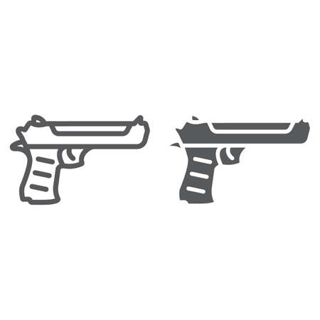 Desert eagle gun line and glyph icon, army and weapon, handgun sign, vector graphics, a linear pattern on a white background, eps 10.