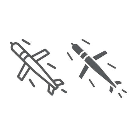 Cruise missile line and glyph icon, army and force, military bomb sign, vector graphics, a linear pattern on a white background, eps 10.