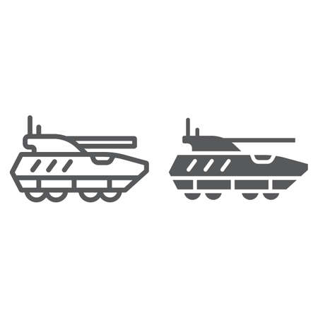 Armoured personnel carrier line and glyph icon, army and military, tank sign, vector graphics, a linear pattern on a white background, eps 10.