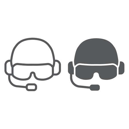 Military helmet line and glyph icon, army and military, soldier hat sign, vector graphics, a linear pattern on a white background, eps 10.