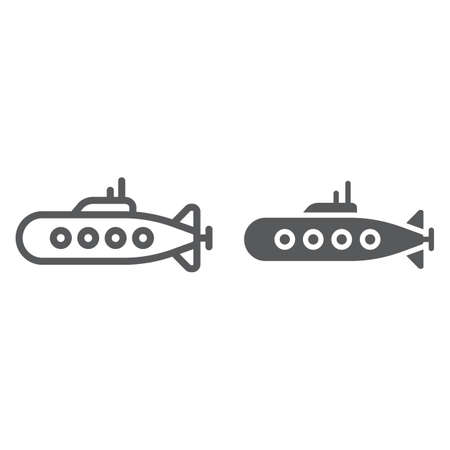 Military submarine line and glyph icon, marine and military, army sub sign, vector graphics, a linear pattern on a white background, eps 10.