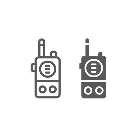 Walkie talkie line and glyph icon, communication and military, portable radio sign, vector graphics, a linear pattern on a white background, eps 10. Çizim