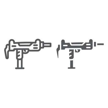 Uzi gun line and glyph icon, army and military, gun machine sign, vector graphics, a linear pattern on a white background, eps 10.