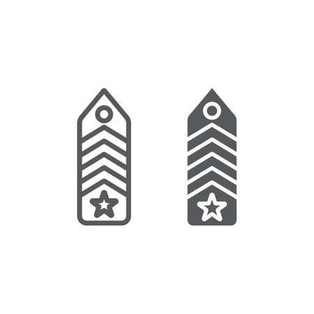 Military chevron line and glyph icon, uniform and insignia, army badge sign, vector graphics, a linear pattern on a white background, eps 10.