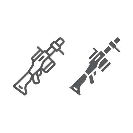 Grenade launcher line and glyph icon, weapon and rocket, bazooka sign, vector graphics, a linear pattern on a white background, eps 10.