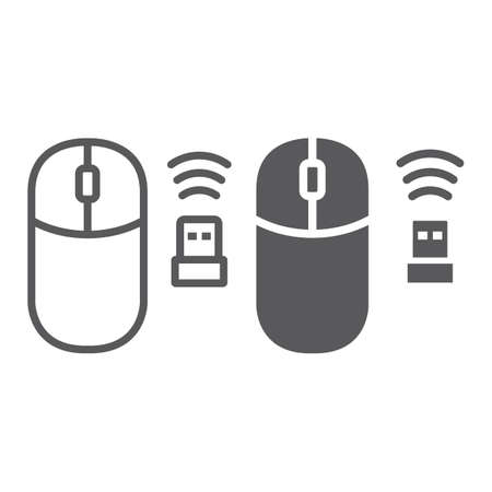 Wireless mouse line and glyph icon, cursor and device, computer mouse sign, vector graphics, a linear pattern on a white background, eps 10.