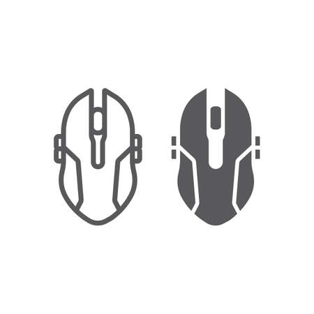 Gaming mouse line and glyph icon, game and device, computer mouse sign, vector graphics, a linear pattern on a white background, eps 10.
