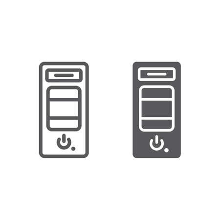 System unit line and glyph icon, hardware and device, case for the computer sign, vector graphics, a linear pattern on a white background, eps 10. 向量圖像