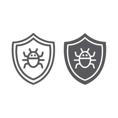 Antivirus line and glyph icon, technology and protection, software firewall sign, vector graphics, a linear pattern on a white background, eps 10.