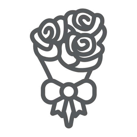 Bouquet of flowers line icon, valentine and holiday, rose sign, vector graphics, a linear pattern on a white background, eps 10