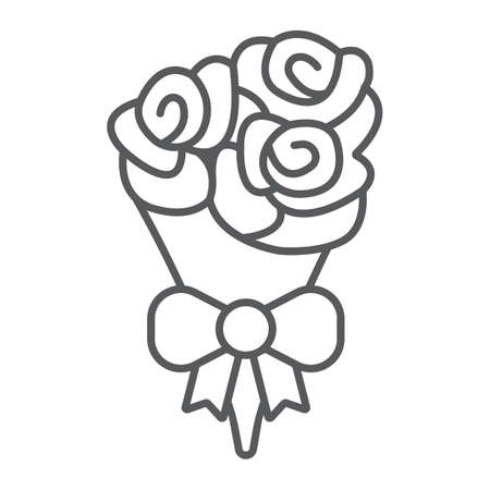 Bouquet of flowers thin line icon, valentine and holiday, rose sign, vector graphics, a linear pattern on a white background, eps 10 Çizim
