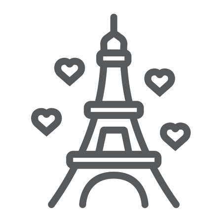Eiffel line icon, valentine and holiday, france sign, vector graphics, a linear pattern on a white background, eps 10. 向量圖像