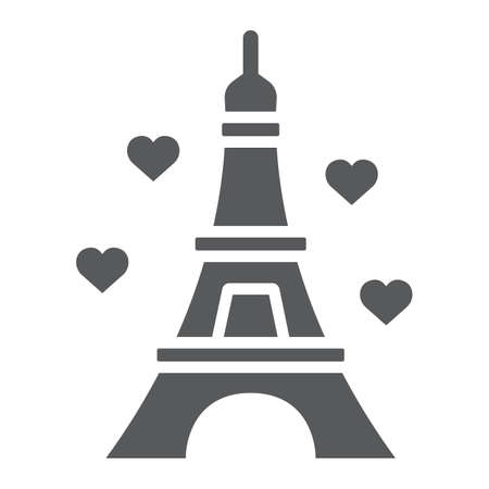 Eiffel glyph icon, valentine and holiday, france sign, vector graphics, a solid pattern on a white background, eps 10.