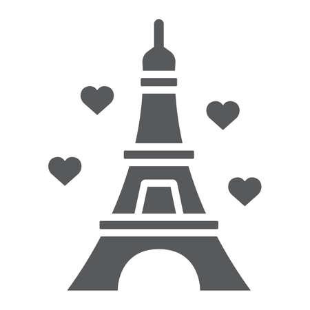 Icono de glifo de Eiffel, San Valentín y vacaciones, signo de Francia, gráficos vectoriales, un patrón sólido sobre un fondo blanco, eps 10. Ilustración de vector