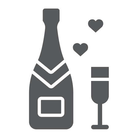 Champagne glyph icon, valentine and holiday, Champagne bottle sign, vector graphics, a linear pattern on a white background, eps 10.