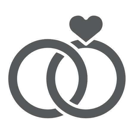 Trauringe Glyph-Symbol, Valentinstag und Urlaub, Verlobungszeichen, Vektorgrafiken, ein festes Muster auf weißem Hintergrund