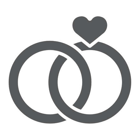 Wedding Rings glyph icon, valentine and holiday, engagement sign, vector graphics, a solid pattern on a white background