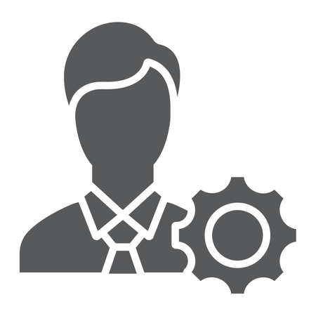 Business ethics glyph icon, business and moral, man with cogwheel sign, vector graphics, a solid pattern on a white background