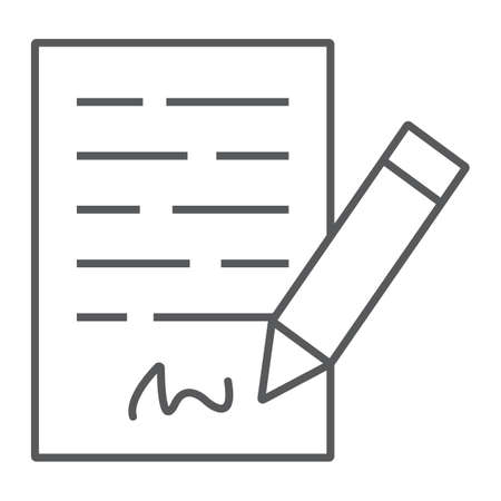 Signing contract thin line icon, business and agreement, form sign, vector graphics, a linear pattern on a white background