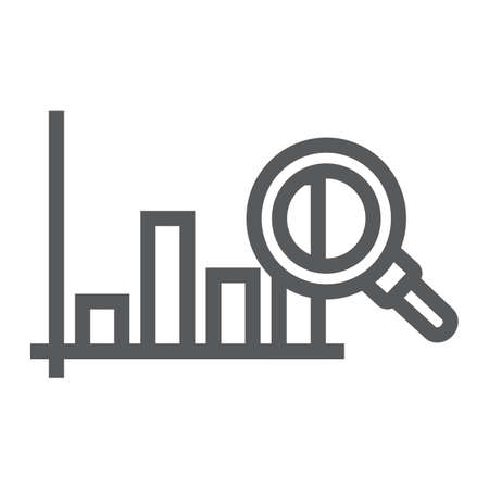 Market research line icon, business and strategy, graph sign, vector graphics, a linear pattern on a white background