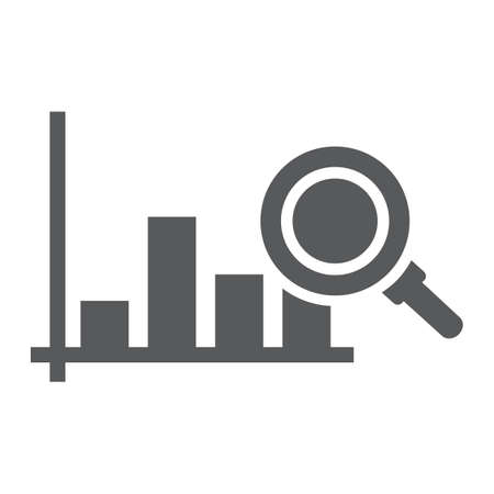 Market research glyph icon, business and strategy, graph sign, vector graphics, a solid pattern on a white background Illustration