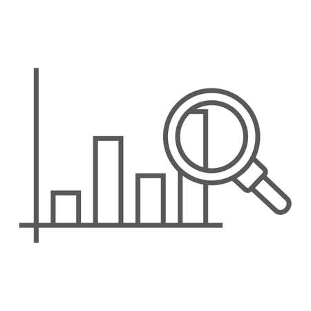 Market research thin line icon, business and strategy, graph sign, vector graphics, a linear pattern on a white background