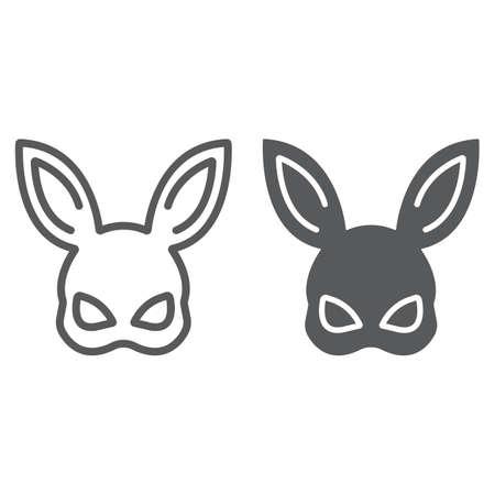 Ligne de masque de lapin de sexe et icône de glyphe, jouet et adulte, signe de masque, graphiques vectoriels, un dessin linéaire sur fond blanc