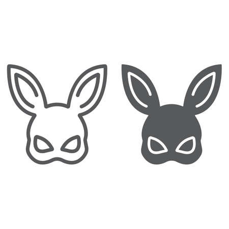 Sex rabbit mask line and glyph icon, toy and adult, mask sign, vector graphics, a linear pattern on a white background