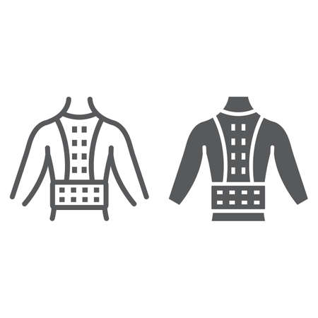 Orthopedic corset line and glyph icon, orthopedic and medical, posture correction brace sign, vector graphics, a linear pattern on a white background.