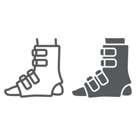 Foot splint line and glyph icon, orthopedic and medical, leg bandage sign, vector graphics, a linear pattern on a white background.