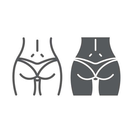 Woman ass line and glyph icon, body and butt, sexy ass sign, vector graphics, a linear pattern on a white background Illustration