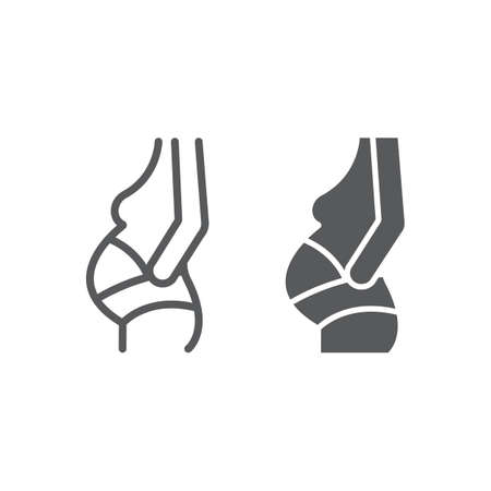 Pregnancy bandage line and glyph icon, orthopedic and medical, orthopedic bandage sign, vector graphics, a linear pattern on a white background