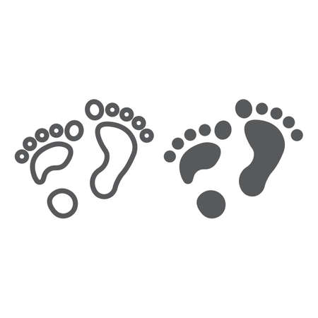 Flat foot line and glyph icon, orthopedic and medical, barefoot sign, vector graphics, a linear pattern on a white background