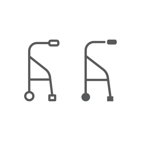 Walkers line and glyph icon, medical and equipment, walking sticks for seniors sign, vector graphics, a linear pattern on a white background