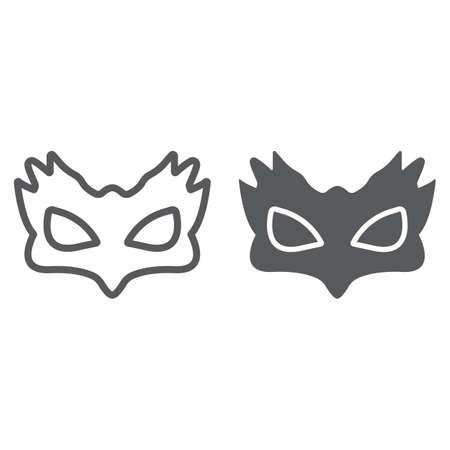 Ligne de masque de sexe et icône de glyphe, jouet et adulte, signe de masque, graphiques vectoriels, un dessin linéaire sur fond blanc Vecteurs