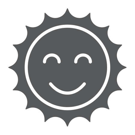 Sun glyph icon, easter and summer, smile sun sign, vector graphics, a solid pattern on a white background, eps 10