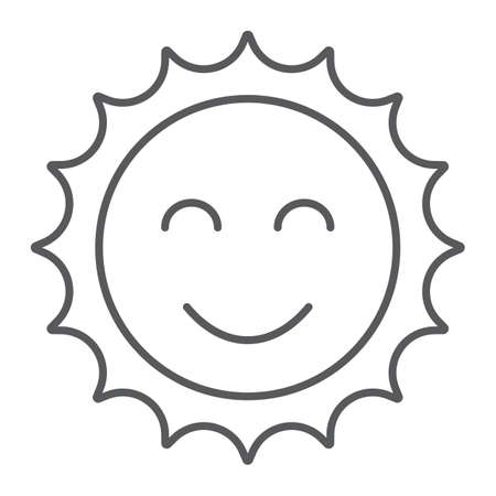 Sun thin line icon, easter and summer, smile sun sign, vector graphics, a linear pattern on a white background, eps 10