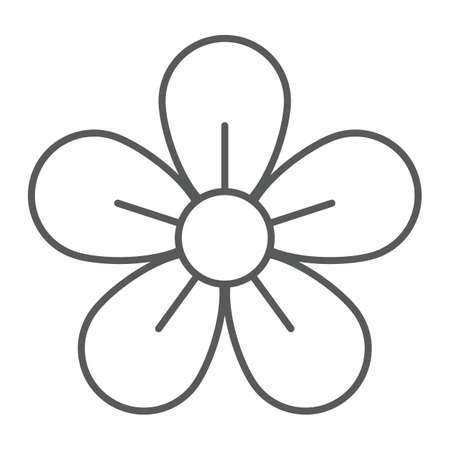 Flower thin line icon, easter and summer, floral sign, vector graphics, a linear pattern on a white background, eps 10 Illustration