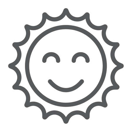 Sun line icon, easter and summer, smile sun sign, vector graphics, a linear pattern on a white background, eps 10