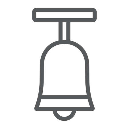 Standing bell line icon, easter and religion, bell sign, vector graphics, a linear pattern on a white background, eps 10 Ilustracja