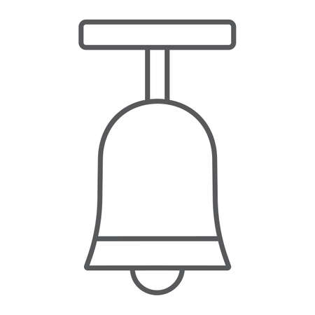 Standing bell thin line icon, easter and religion, bell sign, vector graphics, a linear pattern on a white background, eps 10