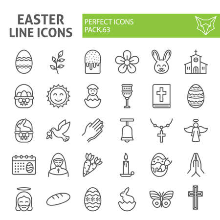 Easter line icon set, spring holiday symbols collection, vector sketches, logo illustrations, religion icons, business signs linear pictograms package isolated on white background, eps 10