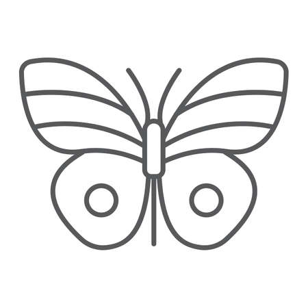 Butterfly thin line icon, easter and summer, insect sign, vector graphics, a linear pattern on a white background, eps 10 Archivio Fotografico - 138464928